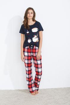 women'secret | Be happy | Pijama largo de cuadros en franela