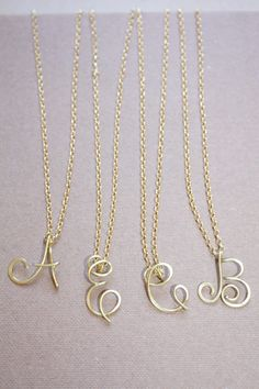 Uppercase Initial Necklace 22k Gold Personalized by DiAndDe