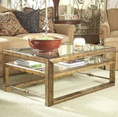 Belfort Signature Westview 819 Rectangular Cocktail Table with Glass Top and Shelf - Belfort Furniture - Cocktail or Coffee Table Washington DC, Northern Virginia, Maryland and Fairfax VA