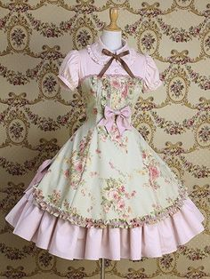 Vintage style short-sleeved pink Lolita dress, with brown bow, mint apron with printed flowers and pink bow. Sweet, Classic or Hime Lolita styles. Kawaii Fashion, Lolita Fashion, Cute Fashion, Pretty Outfits, Pretty Dresses, Beautiful Dresses, Beautiful Lines, Style Lolita, Gothic Lolita
