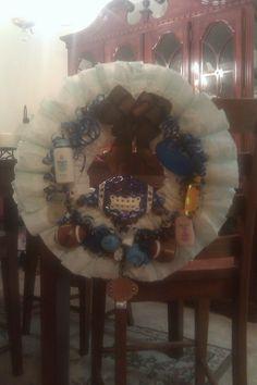 Diaper wreath--blue and brown football theme