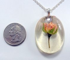 Pink Rose Necklace real flower jewelry resin flower jewelry