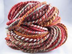 Handspun Bulky Falkland Wool Yarn -- AUTUMN BREEZE, 62 yd. $20