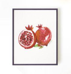 Pomegranate painting, Kitchen Art, Watercolor painting, Fruit print, Botanical print, Fruit art, Apartment decor, Red  8x10 Buy 2 Get 1 FREE...