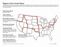 Fourth Grade Geography Worksheets: Regions of the United States social studies Regions of the United States Geography Lessons, Study Unit, Social Studies Worksheets, Social Studies Elementary, United States Geography, Homeschool History, Homeschool Geography, Geography Worksheets