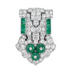 Art Deco Platinum, Diamond and Emerald Clip, Cartier Of stylized buckle motif, set throughout with 71 old-mine, one square-cut and 2 baguette diamonds approximately 3.25 cts., flanked by 10 square-cut emeralds, centering 3 emerald beads accented by 3 small diamonds, with white gold clip, signed Cartier, London, Paris, New York, no. 2716, circa 1925