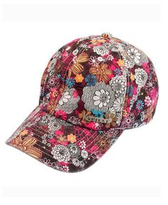 Baseball Cap with Ethnic Flower Print