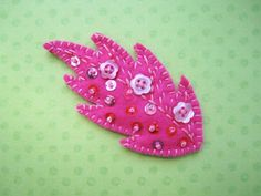 Leaf 3 in a series of embroidered embellished felt by HammieAndAud