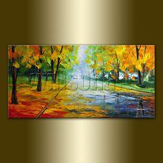 Original Seasons Tree Landscape Painting Oil on by willsonart, $155.00