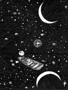 """Follow You Into the Dark 8x10"""" pen and ink illustration PRINTS Black and White Drawing, Ocean sea at night reflecting stars. FOLLOW YOU INTO THE DARK was inspired by the song by the same title from the musc band DeathCab for Cutie Size: 8x10"""" Type: Prints - drawn with Sakura Pigma Micron Pens of various sizes (.005-.03) Black ink. -Signed and numbered by the artist. -30 count -I also do commissioned work upon request. -You can find me on Facebook.com/wyldtrees or Etsy."""