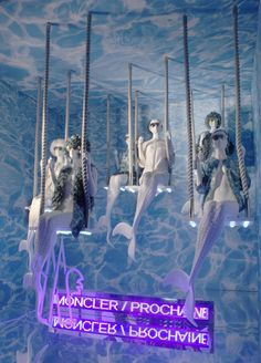 "MONCLER, ""Ride with Unicorns, Swim (Swing) with Mermaids"", photo by Vitrinista UA, pinned by Ton van der Veer Window Display Retail, Window Display Design, Visual Merchandising, Vitrine Design, Decoration Vitrine, Store Displays, Retail Displays, Visual Display, Store Windows"