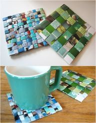 Recycled magazine coasters - http://craftideas.bitchinrants.com/recycled-magazine-coasters/