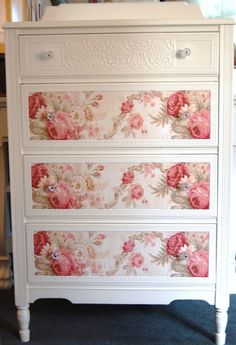 Cottage Chic  Dresser with Roses by Daniscustomdesigns- she does very cool cottage style furniture w/ floral paper and embossed papers - I definitely could do this! (Decopage them?)