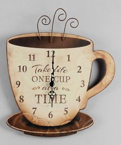 Love this Wood Coffee Wall Clock on #zulily! #zulilyfinds