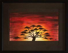 Titre : Soleil d'Afrique. œuvre réalisée à la peinture acrylique ( pébéo, studio & uni, posca ) sur toile Canson.  Format ( sans cadre ) : 38 cm x 23 cm.  Format ( avec cadre ) : 52.2 cm x 42.6 cm x 3 cm.  Cadre en métal noir vitré.  Date de réalisation : 08 / 2014