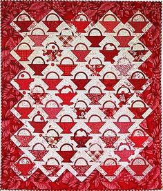 Hawaiian Rainbow Basket Quilt, Red and White Variation, by Lisa Boyer
