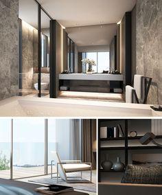 SCDA Mixed-Use Development Sanya, China- Show Villa (Type Master Bath & Bedroom Details - Dream Homes Luxury Interior, Modern Interior, Interior Architecture, Villa Luxury, Luxury Master Bathrooms, Master Baths, Ideas Hogar, Luxurious Bedrooms, Beautiful Bathrooms