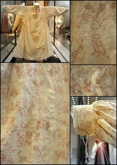 17C lady's smock with embroidery - I just love some of the animal/flower/insect motifs on this!