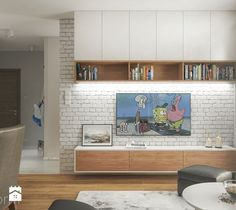Projekt mieszkania 76m2. - Mały salon z jadalnią, styl nowoczesny - zdjęcie od hexaform