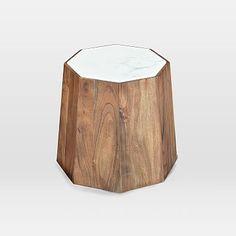 Marble + Wood Geo Side Table #westelm
