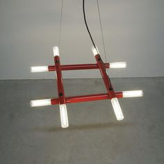 Postmodern Red Tube Metal Atomic Chandelier, Italy circa 1980