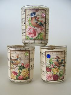 Vintage Votive Candle Holders - would even be cute with just the music.