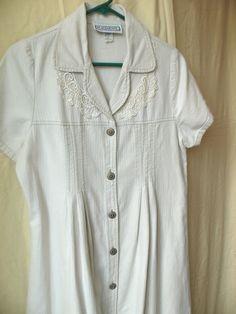 80s midi dress, shirt dress, button down dress, cotton dress, tan beige dress, minimalist dress, size medium denim dress   Vintage 80s midi