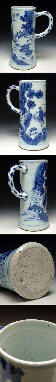 Tankard of slender shape in underglaze Blue and White decoration.  Antique Chinese Porcelain, Ming porcelain.