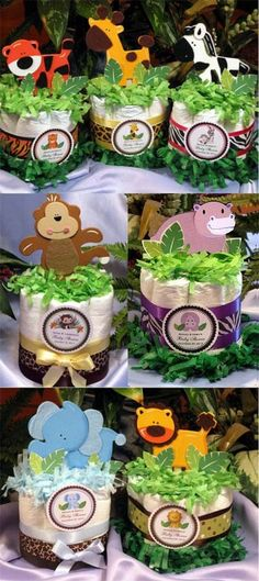 If you are having a jungle baby shower theme these are cute centerpieces for your tables. For more jungle/safari baby shower ideas go to: www.modern-baby-s. Idee Baby Shower, Mesas Para Baby Shower, Fiesta Baby Shower, Shower Bebe, Baby Shower Diapers, Baby Shower Parties, Baby Shower Themes, Baby Boy Shower, Baby Shower Gifts