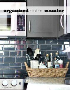 Organize the clutter next to your Kitchen Stovetop via Hi Sugarplum