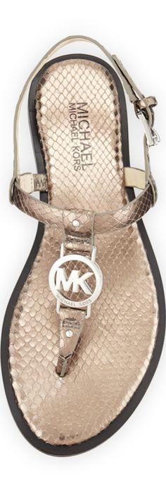 MICHAEL Michael Kors Sondra Snake-Embossed Leather Sandal, Nickel