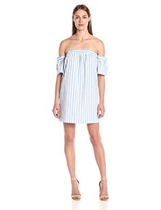 5f4f785a91d4 Milly Women s Breton Stripe Off The Shoulder Dress