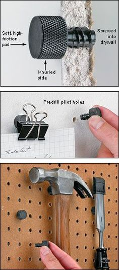 Magnetic Studs - Woodworking -- wouldn't a short flat head screw work as well? the 2 together could be dipped in vinyl. #woodworkingtips