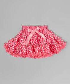 Another great find on #zulily! Hot Pink Polka Dot Satin Tutu Skirt - Infant, Toddler & Girls by Wenchoice #zulilyfinds