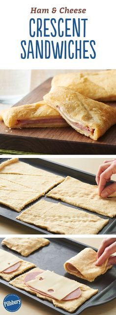 Ham and Cheese Crescent Sandwiches - You only need three ingredients to create these easy sandwiches. Serve with soup or a salad for a complete meal! meals for lunch Ham and Cheese Crescent Sandwiches Lunch Recipes, Cooking Recipes, Meal Recipes, Dinner Recipes, Easy Cooking, Healthy Cooking, Recipies, Easy Sandwich Recipes, Cooking Bacon
