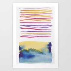 Lines & Color Block Series October 2018 Watercolor Art Paintings, Watercolor Artists, Watercolors, Watercolor Pattern, Watercolor Print, Pastel Watercolor, Art Prints For Home, Abstract Canvas, Print Print
