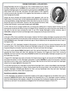 This Reading Comprehension worksheet is suitable for advanced ESL learners. The text describes the life, work, military and political service of the first president of the United States, George Washington. The text also gives an account of the French and Indian War