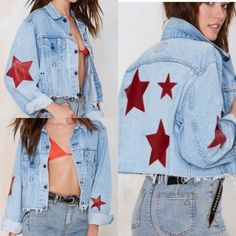 NWT NASTY GAL DENIM JACKET WITH LEATHER STARS Super cute! Great for a grunge look or to throw on with a plain white tee! Nasty Gal Jackets & Coats Jean Jackets