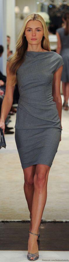 """Sleek Sophisticated Gray Sheath Dress Ralph Lauren   Pre-Fall 2014 #fashion"""