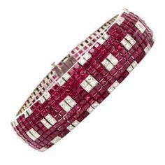 Ruby Diamond Mystery Set Gold Bracelet