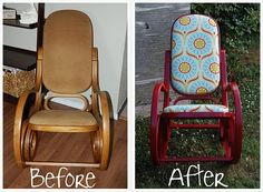 Bentwood rocking chair redo, not a fan of the fabric but I like the chair and idea itself