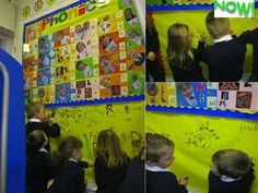 Mark making wall underneath phonics board to encourage children to use phonics