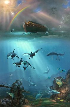 Noah's Ark is the center point of this ocean-themed wall mural. Animals at the bow of the ark watch frolicking orcas, dolphins and sea turtles. A white dove is about to land as a beautiful rainbow appears in the clearing sky. Murals Your Way, Bible Pictures, Prophetic Art, Biblical Art, Bible Stories, Religion, Bible Art, Christian Art, New Beginnings