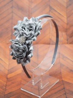 A personal favorite from my Etsy shop https://www.etsy.com/listing/262411518/grey-white-flowered-headband-gray-shabby
