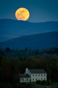 Supermoon over my house by Jeffrey Weeks at Capture My Vermont, photos of the state where I grew up.