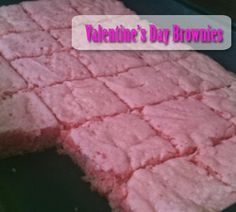 Pink Brownies for birthdays, Valentine's Day or just because. Strawberry Brownies.  TheInvitationShop.com