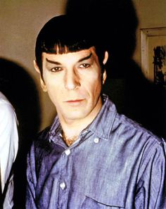 Mr Spock between takes, filming City On the Edge Of Forever, 1967.