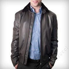 Men's Italian Leather Jacket with removable fur collar  http://www.pierotucci.com/men/leather_jackets/