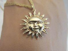 14k yellow gold Sun Face Pendant 3.8 grams Nice! #Pendant