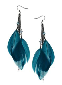 Teal feather facet drops